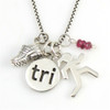 Sterling Silver Tri Charm Necklace with Sporty Gal, Mini Shoe and Gemstone