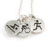 Sporty Gal Triathlon 3-Charm Necklace on Bead Chain