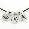 Sporty Gal Triathlon 3-Charm Necklace with Spacers