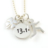 13.1 charm and 4 leaf clover on bead chain with sporty gal