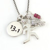 13.1 Sterling Silver Race Necklace with Sporty Gal, Mini Shoe and Gemstone