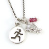Girl Runner charm necklace with Mini Shoe and Gemstone
