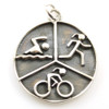 Large Oxidized Sporty Gal Triathlon Pendant
