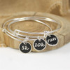 Sterling Silver 5k Large Enamel Charm Bangle Bracelet