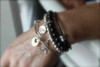 Leather  and Sterling Bead Bracelet stacked with other bracelets