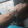 Sterling Silver RUN Mini Charm Bangle Bracelet