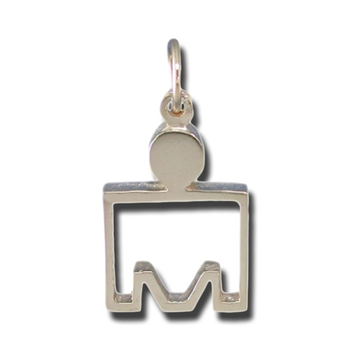14kt Gold M-Dot Outline Pendant