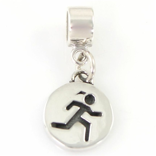 Engraveable Sporty Gal Round Charm for Bead Bracelet