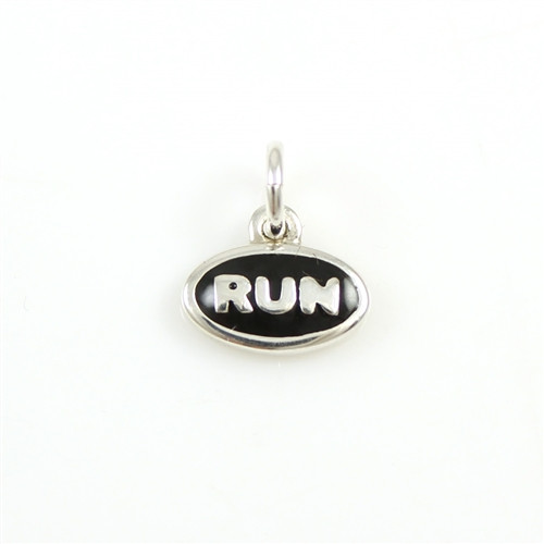 Sterling Silver RUN Enamel Mini Charm