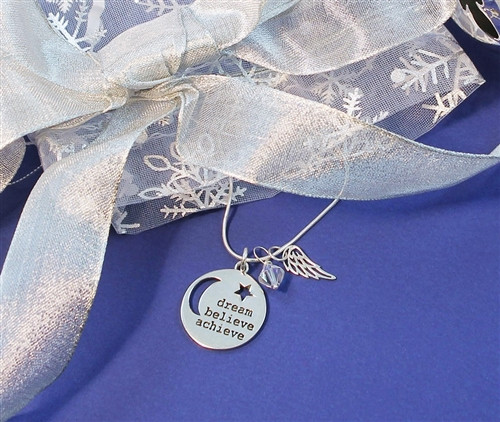 Dream Believe Achieve Necklace with Swarovski Crystal and Sterling Silver Wing  Gift Set