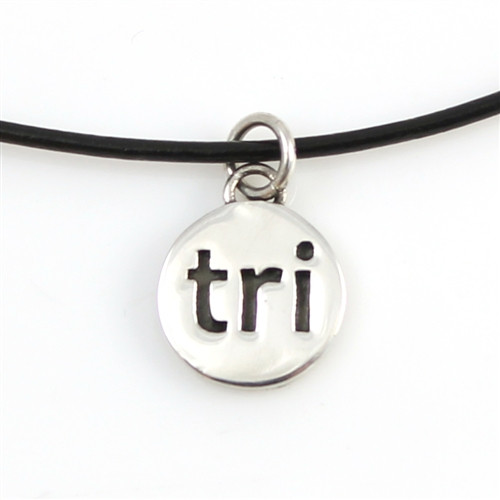 Leather Tri charm necklace