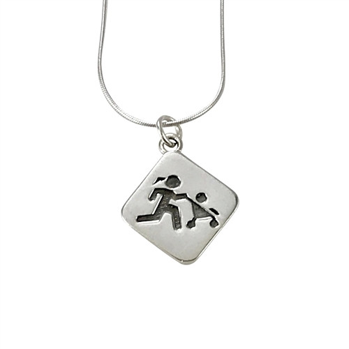 Sporty Gal Mother Runner Pendant on Snake Chain