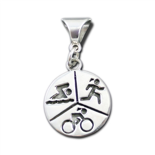 Sterling Silver Sporty Gal Triathlon Pendant with Enhancer