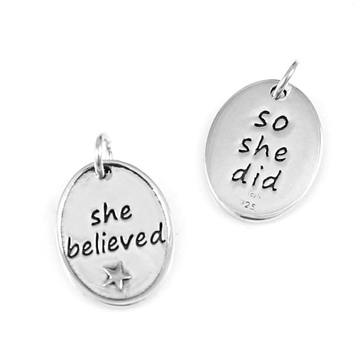 She Believed So She Did Oval Pendant