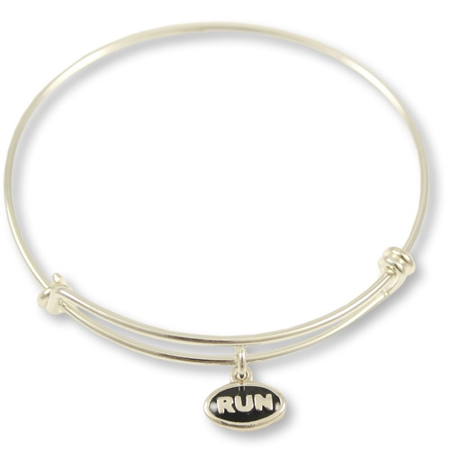 Expandable Bangle Bracelet With RUN Mini Charm