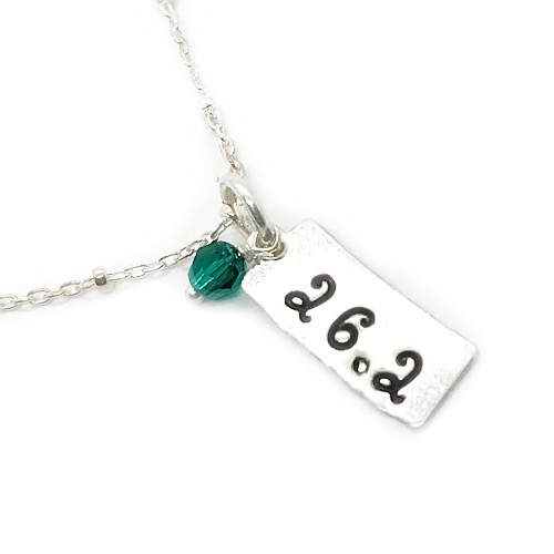 Hand Stamped Rectangle Mini Charm Necklace with Swarovski Crystal