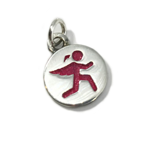 Guardian Angel Charm With Pink Enamel