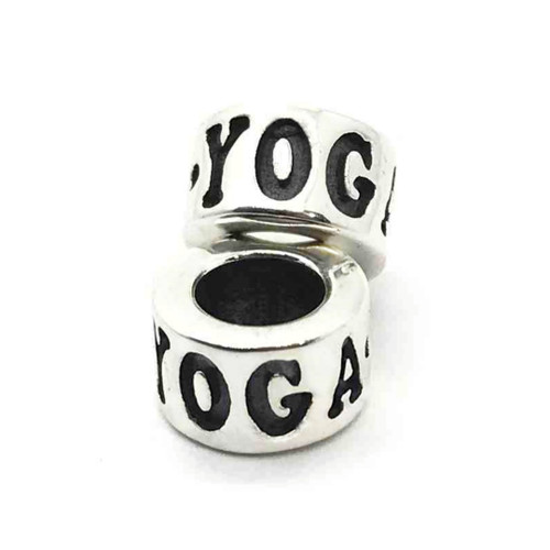 Sterling Silver YOGA Pandora Style Bead Stacked