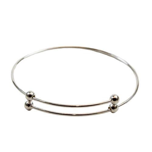 Sterling Silver Expandable Bangle Bracelet with Bead Ends