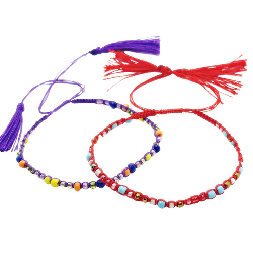 Red and Purple Corded Bead Bracelets