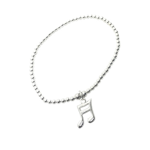 Sterling Silver Bead Bracelet with Music Note Charm