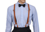 Leather Button Suspenders Front