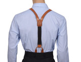 Leather Button Suspenders Y Back
