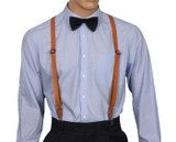 Skinny Tan Leather Suspenders Front