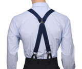 Navy Button Suspenders X Back