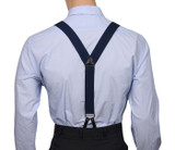 Navy Button Suspenders Y Back