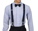 Navy Button Suspenders Front