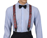 Red Paisley Suspenders Front