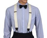 Ivory Barathea Suspenders Front Chrome Adjusters