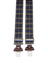 Extra Wide Brown Plaid Braces With Brown Leather