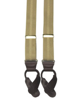 Beige Striped Button On Suspenders