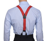 Red Striped Button On Braces Y Back