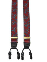Red Paisley Braces With Double Clips