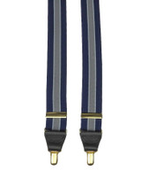 Blue Striped Braces With Gold Clips