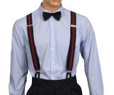 Black and red striped button on suspenders
