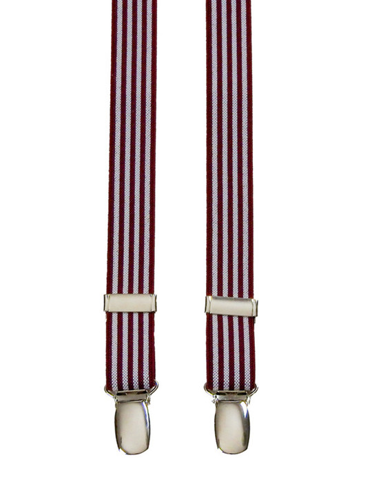 Super Skinny Burgundy Striped Braces