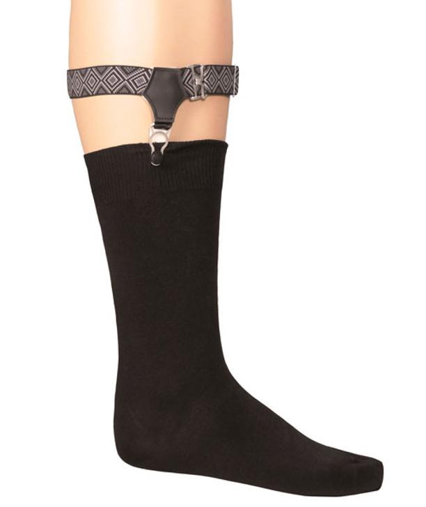 Albert Thurston Black Patterned Sock Garters