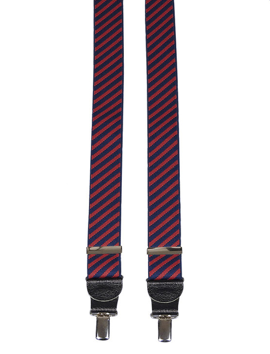 Navy and Red Diagonal Stripe Braces