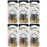 Nite Ize S-Biner KeyRing Stainless Keychain/ Colorful Plastic Biners (6-Pack)