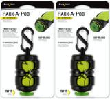 Nite Ize Pack-A-Poo Bag Dispenser w/Leash Clips, S-Biner & 15 Bags (2-Pack)