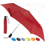 Lewis N. Clark Travel Umbrella, Red - Windproof, Compact and Lightweight
