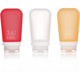 humangear GoToob+ Silicone Squeeze Bottles, Large (3.4oz|100ml) Clear/Red/Orange