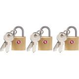 Lewis N. Clark Mini Brass Square TSA Lock: Padlock for Luggage Suitcase (3-Pack)