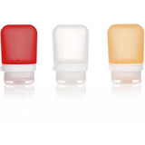 humangear GoToob+ Silicone Squeeze Bottles, Small (1.7oz|53ml) Clear/Red/Orange