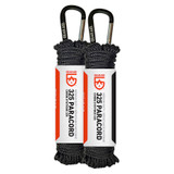 GEAR AID 325 Paracord with Carabiner, Utility Cord, Black, 50 ft (2-Pack)