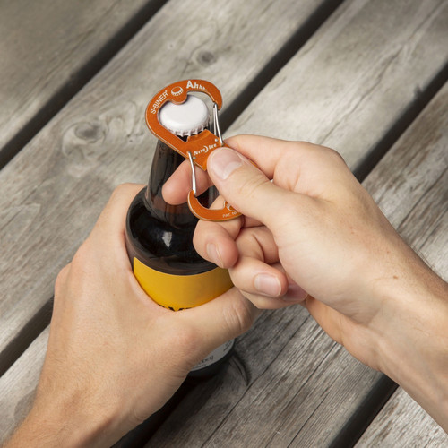 Nite Ize Ahhh Aluminum Bottle Opener + Carabiner Orange Lightweight S-Biner